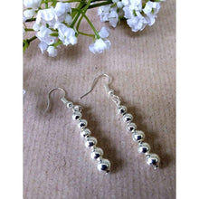 Load image into Gallery viewer, Hand made silver plated plain beads earrings on silver plated wire - Off The Wall Accessories