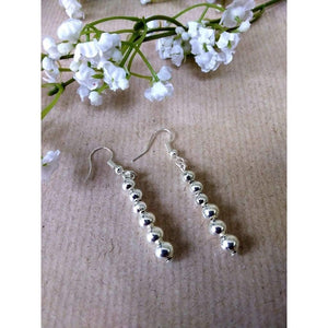 Hand made silver plated plain beads earrings on silver plated wire - Off The Wall Accessories