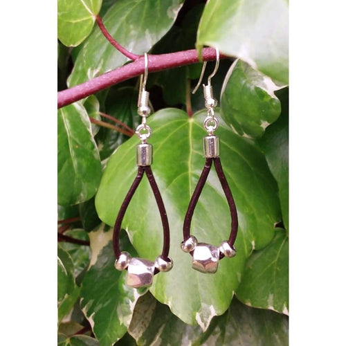 Handmade drop earrings leather tear drop dangle drop shape elegant and unusual - Off The Wall Accessories