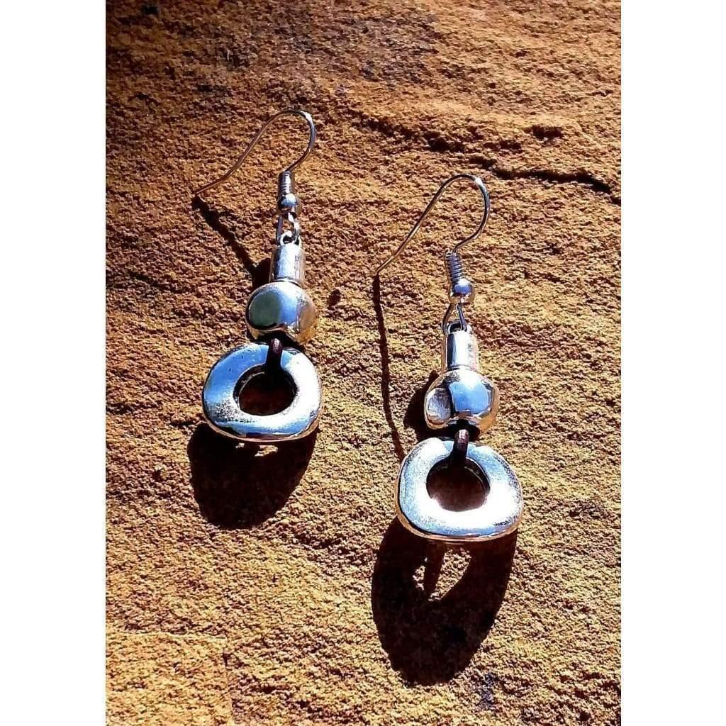 Handmade Earrings Leather Single Circle and Cube Earrings - Off The Wall Accessories