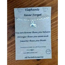 Load image into Gallery viewer, Handmade Silver Plated Chain Bracelet with Elephant Charm. Charity. Quote card Elephants never - Off The Wall Accessories