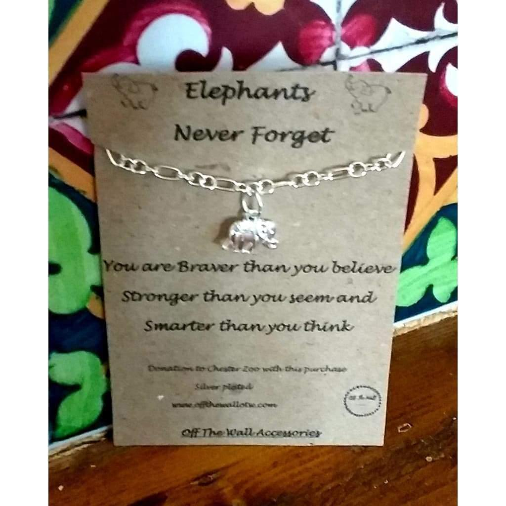 Handmade Silver Plated Chain Bracelet with Elephant Charm. Charity. Quote card Elephants never - Off The Wall Accessories