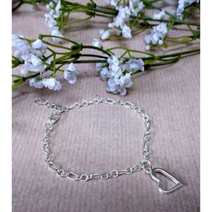 Handmade Silver Plated Chain Bracelet with Open Heart Charm. - Off The Wall Accessories