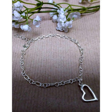 Load image into Gallery viewer, Handmade Silver Plated Chain Bracelet with Open Heart Charm. - Off The Wall Accessories
