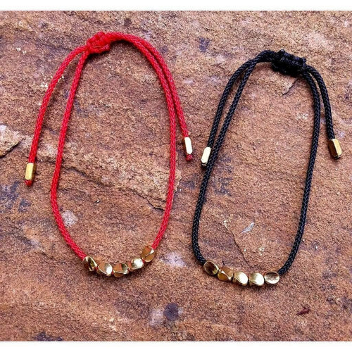Handmade Tibetan Prayer Beads Red or Black Cord - Off The Wall Accessories