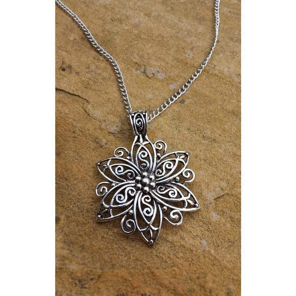 Ladies Pendant Spirals in Flower Pendants/necklace and chain - Off The Wall Accessories