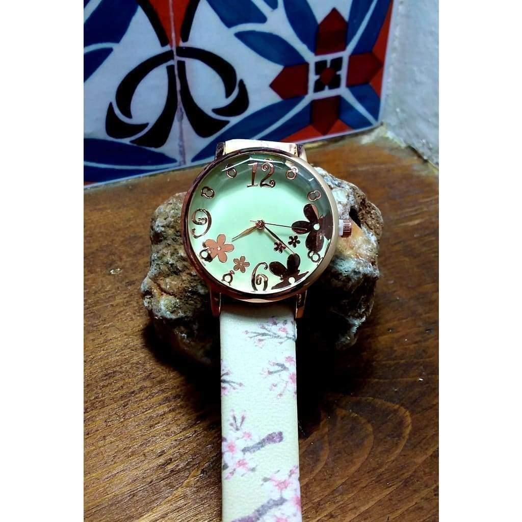 Pretty, quirky, boho watch. Rose gold dial and numbers on grey, cream or black strap. - Off The Wall Accessories