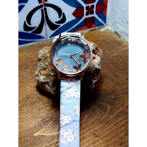 Pretty, quirky, boho watch. Rose gold dial and numbers on grey face with silver grey flowery strap. - Off The Wall Accessories
