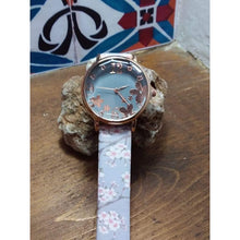 Load image into Gallery viewer, Pretty, quirky, boho watch. Rose gold dial and numbers on grey face with silver grey flowery strap. - Off The Wall Accessories