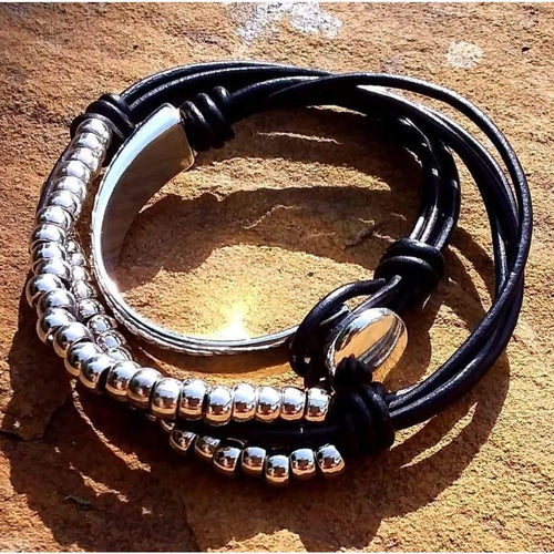 Quirky Leather Handmade Bracelet Black Leather String Wrap Funky Unusual Vintage Boho - Off The Wall Accessories