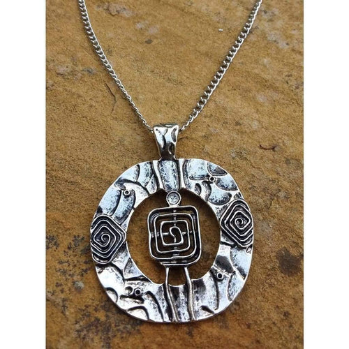 Quirky Pendant Necklace Square in a Circle with silver tone chain - Off The Wall Accessories