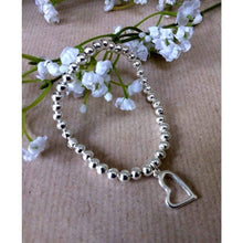 Load image into Gallery viewer, Silver Plated 5mm beaded bracelet with open heart. Handmade high quality silver plated beads - Off The Wall Accessories