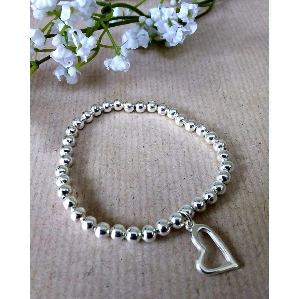 Silver Plated 5mm beaded bracelet with open heart. Handmade high quality silver plated beads - Off The Wall Accessories