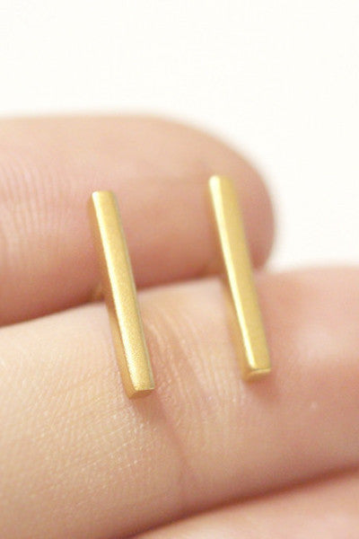 TINY GOLD BAR STUD EARRINGS