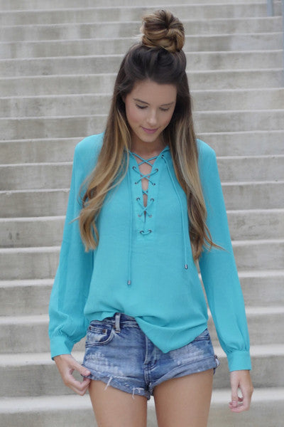 LEXI LACE UP TOP TEAL