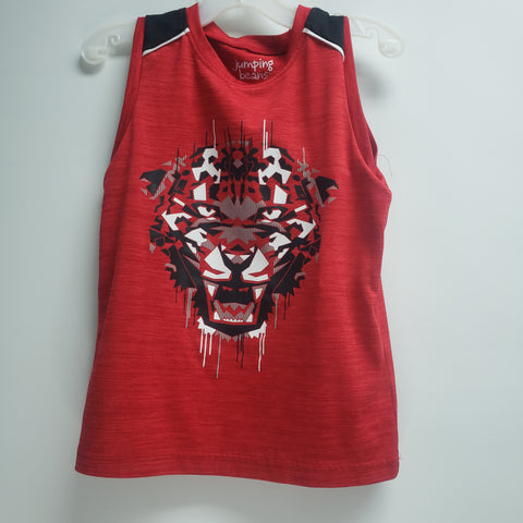 Red Wolf Face Tank Top by Jumping Beans Size 4-5