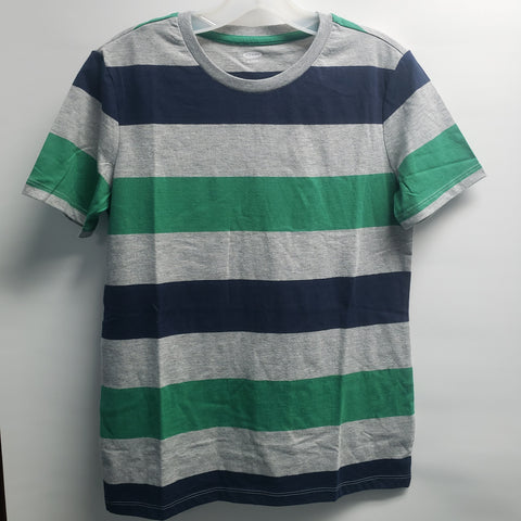 NEW Grey Green and Navy Stripe Short Sleeve Tee Shirt By Old Navy Size 14-16