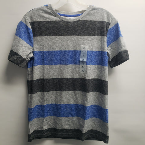 NEW Grey with Blue Stripes Short Sleeve Tee Shirt By Old Navy Size 14-16