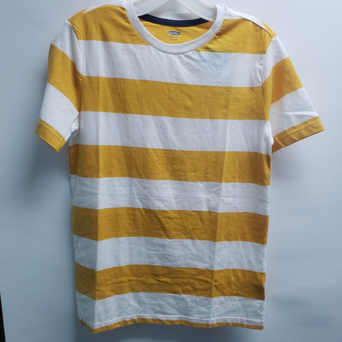NEW Yellow with White Stripes Short Sleeve Tee Shirt By Old Navy Size 14-16