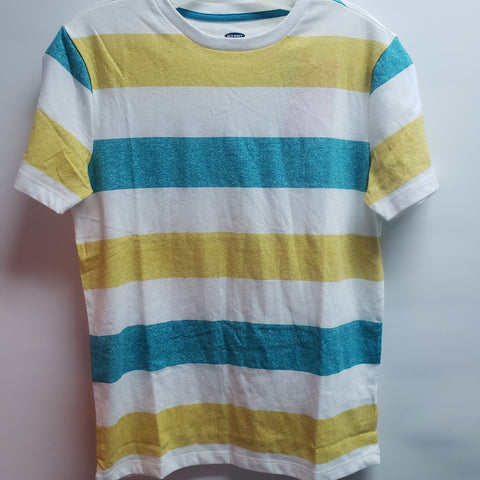 NEW White Teal and Yellow Stripes Short Sleeve Tee Shirt By Old Navy Size 14-16