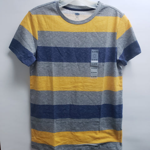 NEW Grey Yellow with Blue Stripes Short Sleeve Tee Shirt By Old Navy Size 14-16