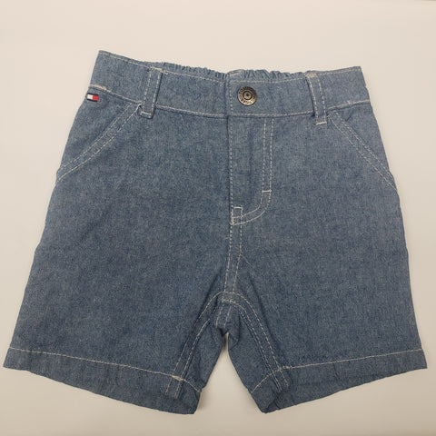 Light Denim Pull On Shorts By Tommy Hilfiger Size 3-6 M