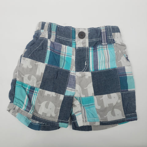 Checkered Elephants Pull On Shorts By Gymboree Size 3-6 M
