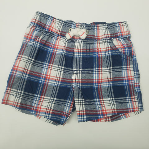 Red White and Blue Plaid Pull On Shorts By Carters Size 9 M