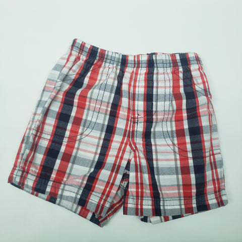 Red White Blue and Grey Plaid Pull On Shorts By Carters Size 9 M