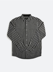 33304 Stripe LS Shirt Black