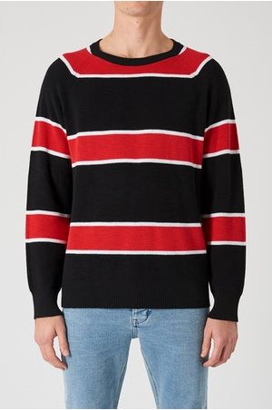 33603 Syngle Knit Red Black Stripe
