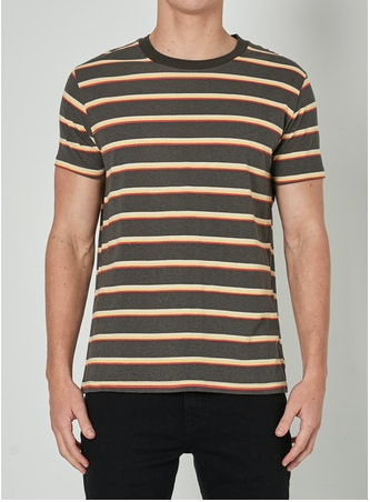 15825 Old Mate Tee Charcoal Stripe
