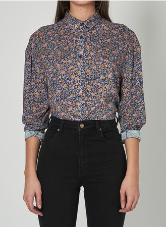13393 Slouch Coast Floral Shirt Blue