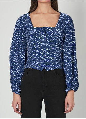 13464 Roxanne Mini Tulips Blouse Marine Blue