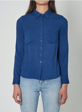 13750 Slim Mini Spot Shirt Blue