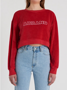 71944 Aoversized Cropped Sweater Ruby Red