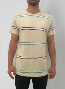 15815 Old Mate Logo Tee Retro Stripe Sand Stripe