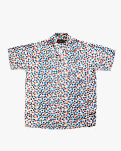 Bubble colored (white & orange) short sleeve shirt
