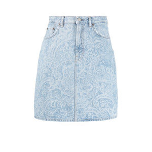 Paisley Denim Skirt
