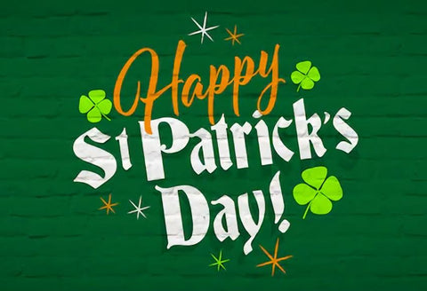 9x6ft Happy St Patricks Day Backdrop for Photography Background Blue Yellow Green Clover Backdrop Shining Bokeh Backdrop Background Photo Booth Sutdio Video Props