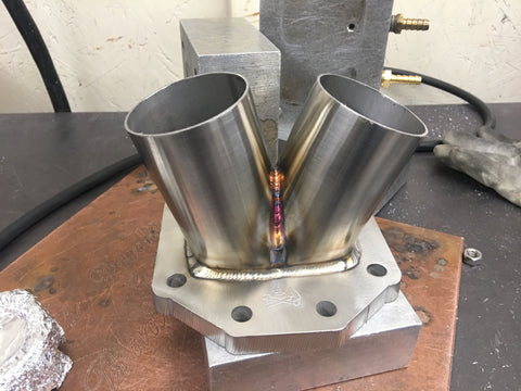 "T6 stainless steel open collector 2.5"" runners"