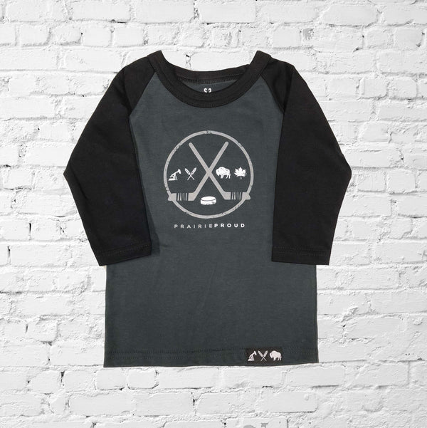 Kids - ODR 2.0 3/4 Raglan - Black / Charcoal