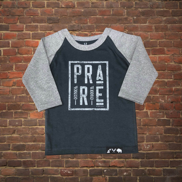 Kids - Plains 2.0 3/4 Raglan - Grey / Charcoal