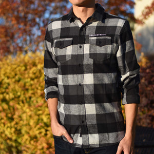 Mens - Buffalo Plaid Flannel - Black/ Charcoal / Grey