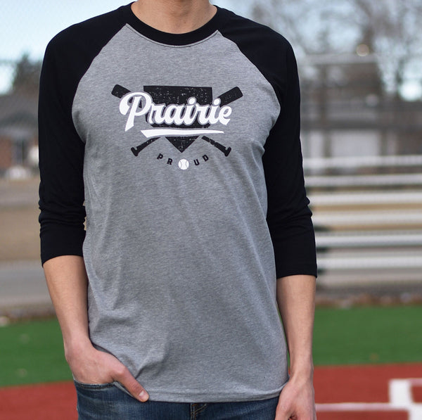 Unisex - Home Run 3/4 Raglan - Heather Grey / Black