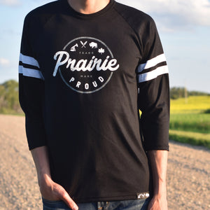 Mens - Compass Striped 3/4 Raglan - Black / White
