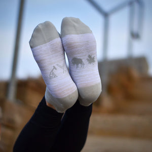 Unisex - Prairie Ankle Socks - Heather White / Grey