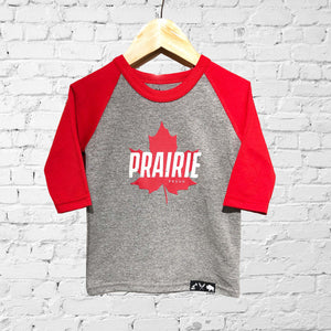 Kids / Youth- True North 2.0 3/4 Raglan - Cherry / Heather Grey