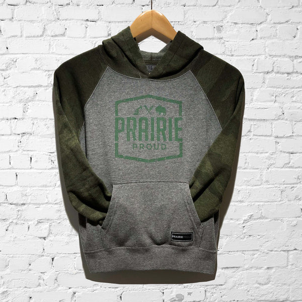 Youth - Prairie Raglan Hood - Grey / Camo