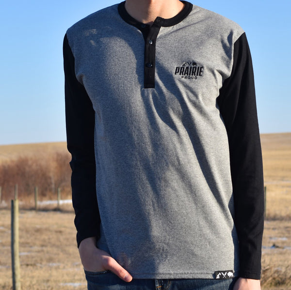 Mens - Prairie 2.0 LS Henley - Black / Heather Grey